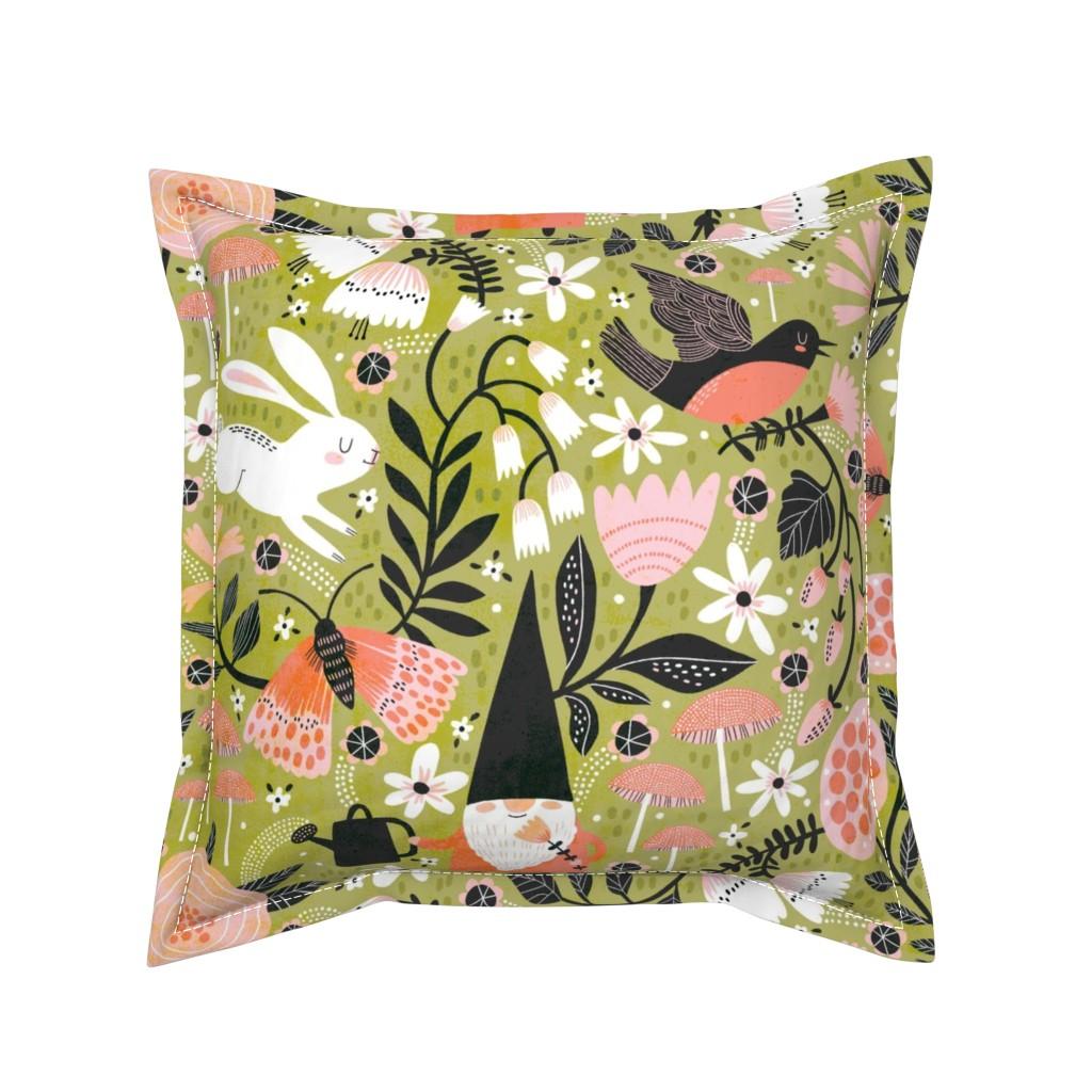 Serama Throw Pillow featuring Garden Friends  by cynthiafrenette