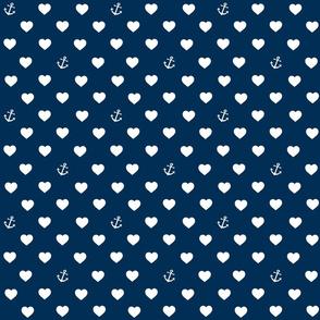 Anchor, heart, classic blue, nautical
