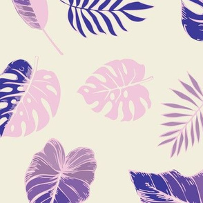 tropical leaves in pink and purple on natural
