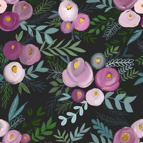 secret garden enchanting floral - on deep black