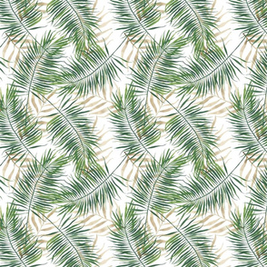 Green and Neutral Palm Branches