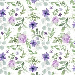 Lavender and Purple Watercolor Florals