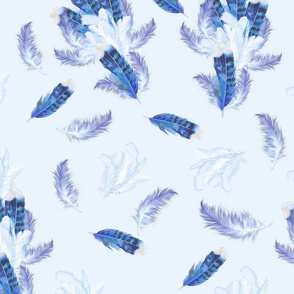 Mix blue Watercolor feathers