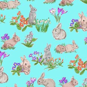 Spring Bulbs and Bunnies Blue