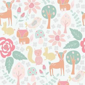 Floral & Fauna Woodland Animals Pastel