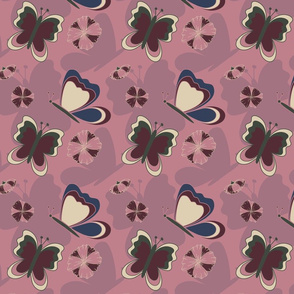 Floral Butterfly Collection Seamless Pattern
