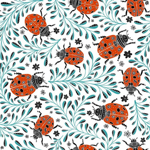 Doodle leaves and ladybirds