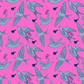 swallows on hot pink