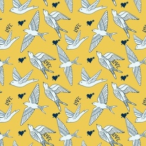 Swallow birds flying on summer yellow