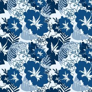 Hawaiin Hibiscus in classic blue