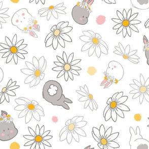 Baby Bunnies & Daisies