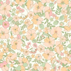 Floral Illustrated 70s Vintage-peach