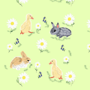 Spring Flowers Bunnies SF