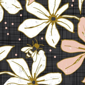 Lilium Pollination - Floral Charcoal Black & Blush Pink Bees Large Scale