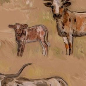 Mood Dy Texas Longhorn Cows and Calves