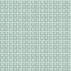 Clara: 1920s Celadon Blue Dotted Check, Art Deco Small Check