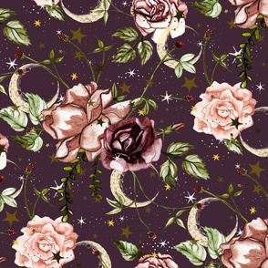 Stars and Moon Boho Floral Large Scale on Dusty Plum, Purple, roses, vintage, stars and flowers, autumn floral, baby girl, nursery, wallpaper