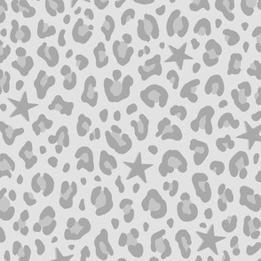 ★ STARS x LEOPARD ★ Neutral Gray - Medium-Small Scale / Collection : Leopard Spots variations – Punk Rock Animal Prints 3