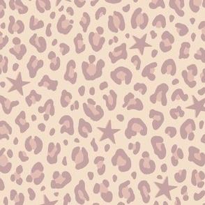 ★ STARS x LEOPARD ★ Pale mauve + Blush Pink on Ecru - Medium-Small Scale / Collection : Leopard Spots variations – Punk Rock Animal Prints 3