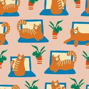 Retro Laptop Cats