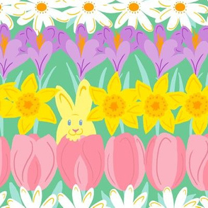 Bunnies in a Flower Patch