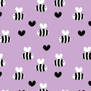 Little bumble bee cute hand cut baby insect garden ochre yellow gender neutral nursery black and white lilac lavender purple SMALL