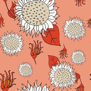 Illustrated Flora and Fauna - Sunflower Pink