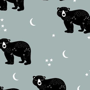 Little kawaii sleepy bear midnight moon and stars polar bear constellation universe design dusty gray