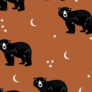 Little kawaii sleepy bear midnight moon and stars polar bear constellation universe design russet rust copper brown neutral