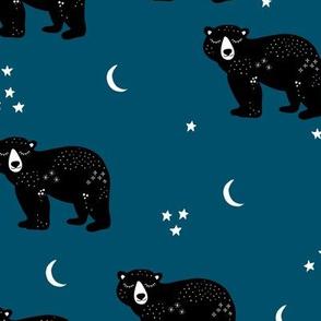 Little kawaii sleepy bear midnight moon and stars polar bear constellation universe design russet navy blue boys