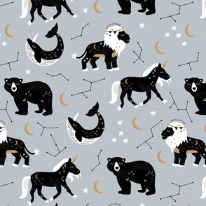 Little kawaii sleepy zodiac signs midnight moon and stars horse whale bear and lion constellation universe design soft moody blue boys