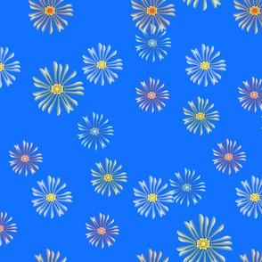 Spring Flora Flowers on Blue