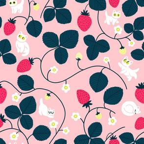strawberry cats - pink - big