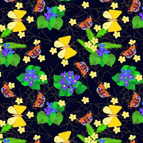 Early Spring Violets and Spring Butterflies