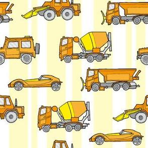 illustrated vehicles - orange on yellow stripes