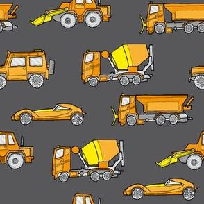illustrated vehicles - orange on grey