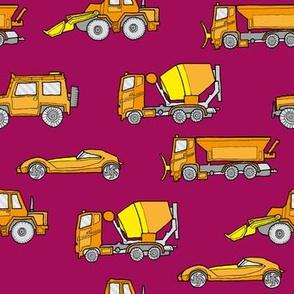 illustrated vehicles - orange on raspberry red