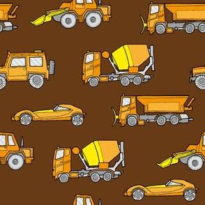 illustrated vehicles - orange on brown