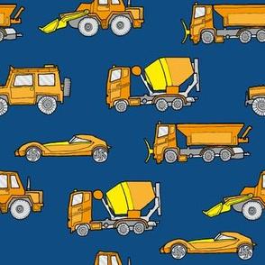 illustrated vehicles - orange on classic blue