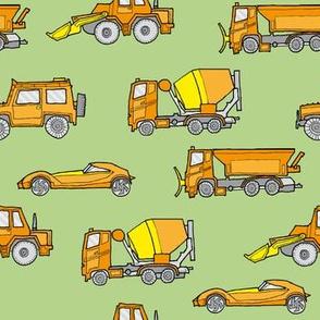 illustrated vehicles - orange on green