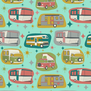 Kitschy Vintage Campers Turquoise, Smaller Scale
