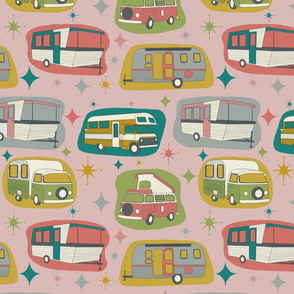 Vintage Campers, pink background, smaller scale
