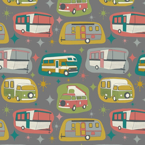 Vintage Campers, charcoal background, smaller scale