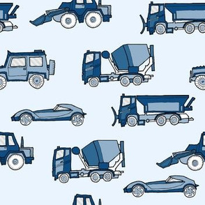 illustrated vehicles - classic blue on light blue