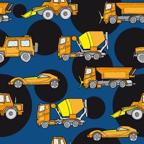 illustrated vehicles - orange on classic blue/black dots