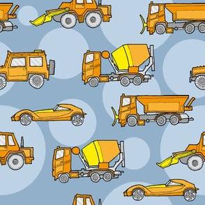illustrated vehicles - orange on blue-grey dots