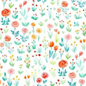 Spring garden, watercolor
