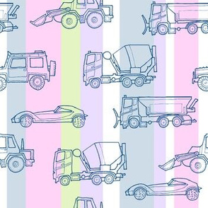 illustrated vehicles - multicolor stripes 2