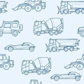 illustrated vehicles - blue