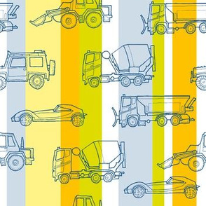 illustrated vehicles - multicolor stripes